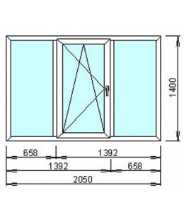 Окно металопластиковое  WDS-400